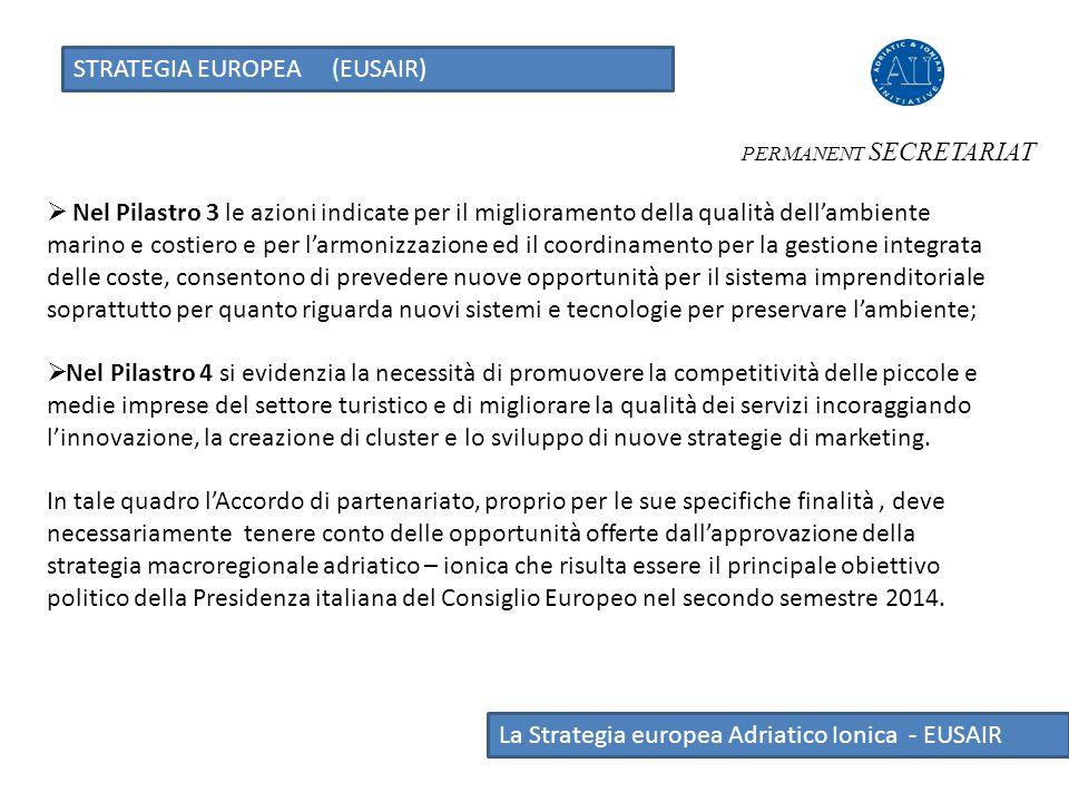 STRATEGIA EUROPEA (EUSAIR) La Strategia europea Adriatico Ionica - EUSAIR  Nel Pilastro 3 le azioni indicate per il miglioramento della qualità dell'