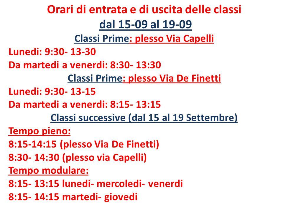 Orari di entrata e di uscita delle classi dal 15-09 al 19-09 Classi Prime: plesso Via Capelli Lunedi: 9:30- 13-30 Da martedi a venerdi: 8:30- 13:30 Classi Prime: plesso Via De Finetti Lunedi: 9:30- 13-15 Da martedi a venerdi: 8:15- 13:15 Classi successive (dal 15 al 19 Settembre) Tempo pieno: 8:15-14:15 (plesso Via De Finetti) 8:30- 14:30 (plesso via Capelli) Tempo modulare: 8:15- 13:15 lunedi- mercoledi- venerdi 8:15- 14:15 martedi- giovedi