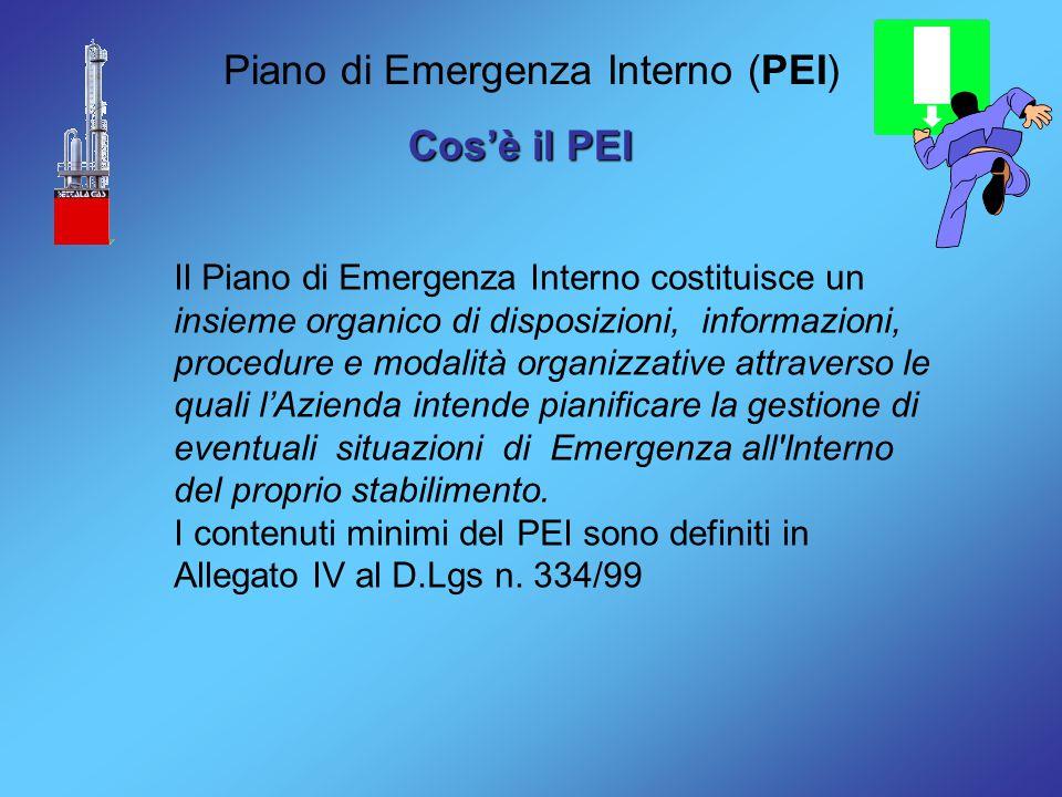 Piano di Emergenza Interno (PEI) Cos'è il PEI Il Piano di Emergenza Interno costituisce un insieme organico di disposizioni, informazioni, procedure e