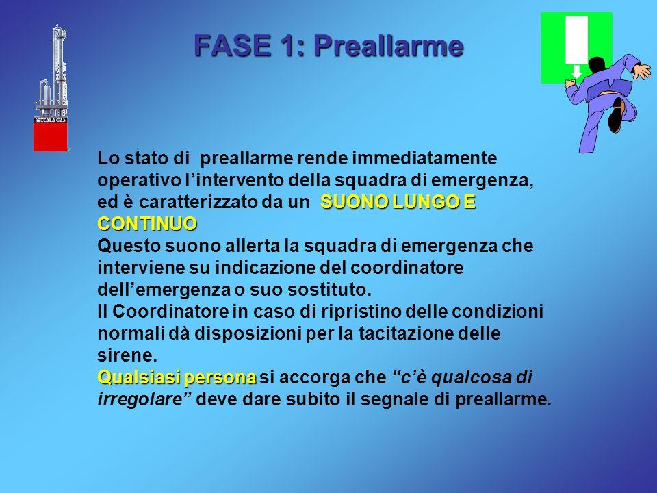 FASE 1: Preallarme SUONO LUNGO E CONTINUO Lo stato di preallarme rende immediatamente operativo l'intervento della squadra di emergenza, ed è caratter