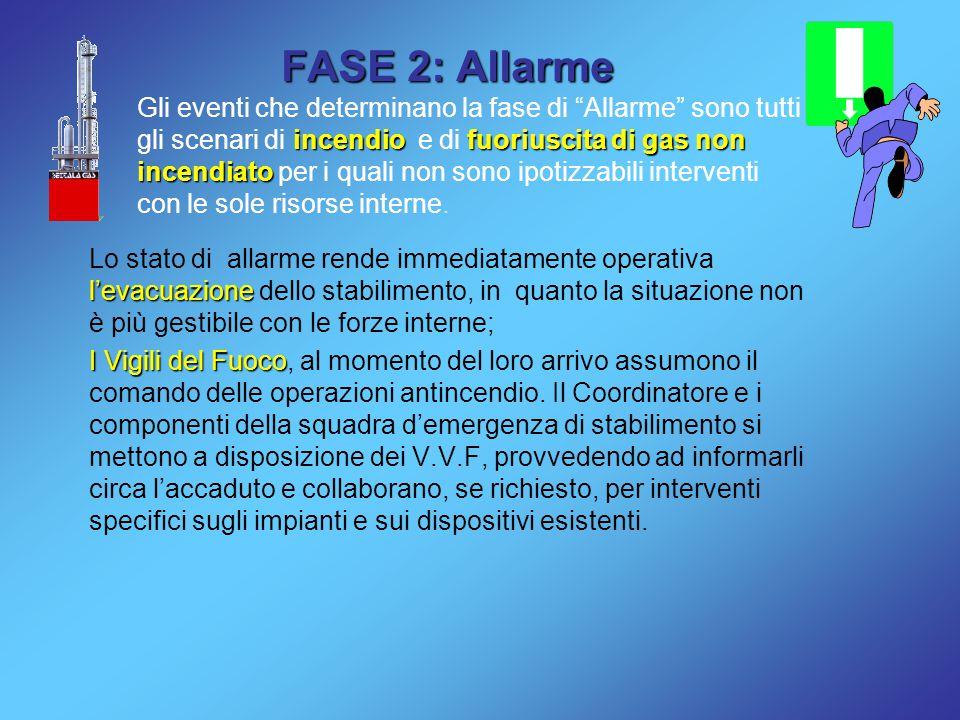 FASE 2: Allarme incendiofuoriuscita di gas non incendiato Gli eventi che determinano la fase di Allarme sono tutti gli scenari di incendio e di fuoriuscita di gas non incendiato per i quali non sono ipotizzabili interventi con le sole risorse interne.