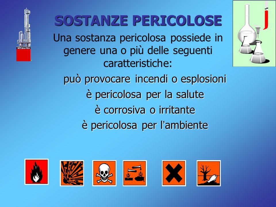 SOSTANZE PERICOLOSE Una sostanza pericolosa possiede in genere una o più delle seguenti caratteristiche: può provocare incendi o esplosioni è pericolosa per la salute è corrosiva o irritante è pericolosa per l ' ambiente