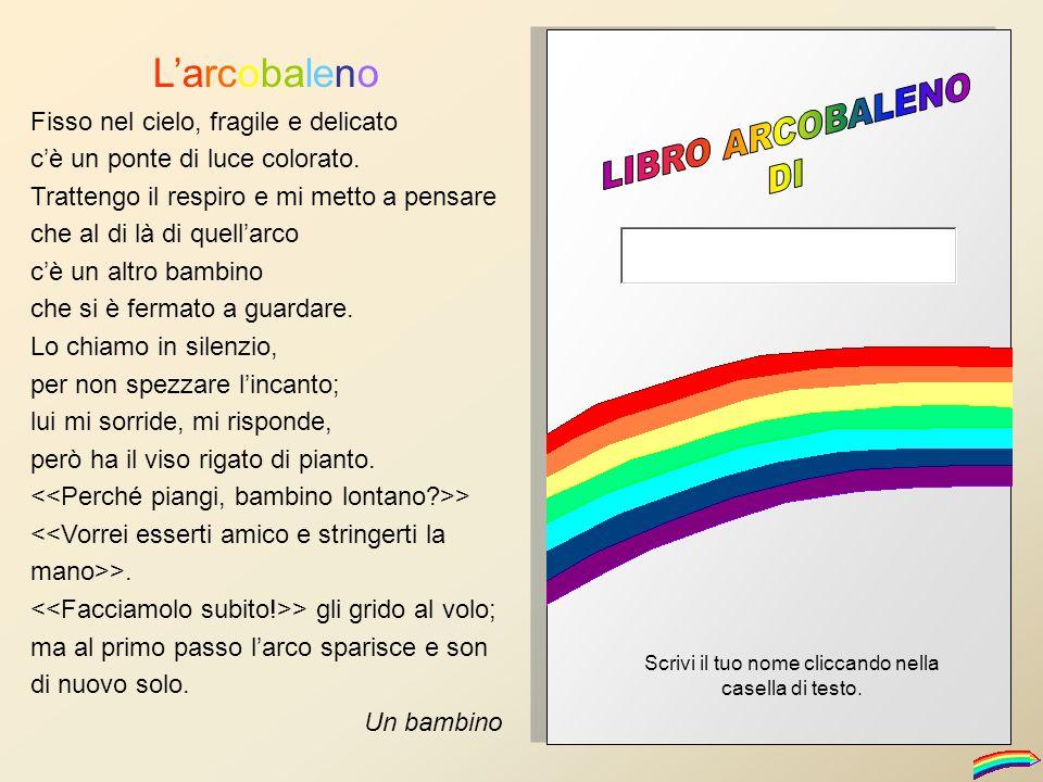 L'arcobaleno Fisso nel cielo, fragile e delicato c'è un ponte di luce colorato. Trattengo il respiro e mi metto a pensare che al di là di quell'arco c