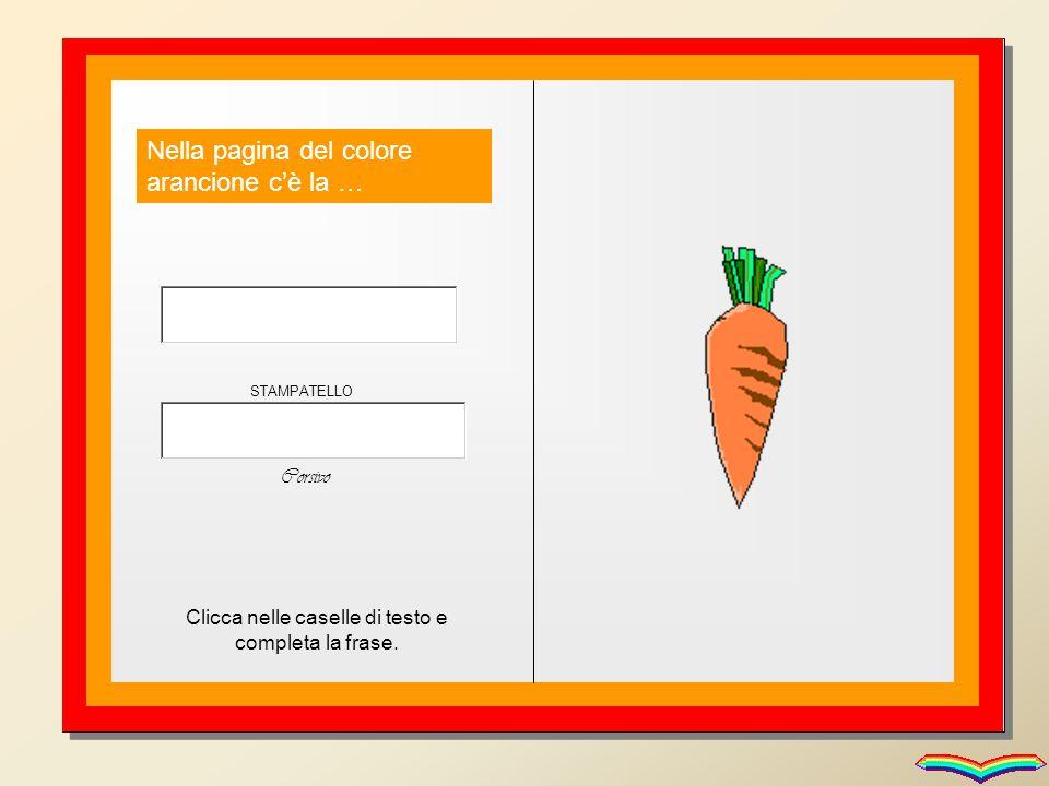 Nella pagina del colore arancione c'è la … Clicca nelle caselle di testo e completa la frase. STAMPATELLO Corsivo