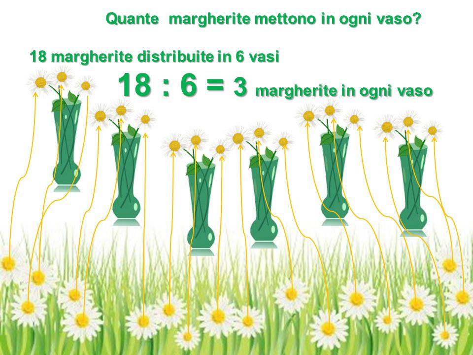 18 margherite distribuite in 6 vasi 18 : 6 = 3 margherite in ogni vaso 18 : 6 = 3 margherite in ogni vaso