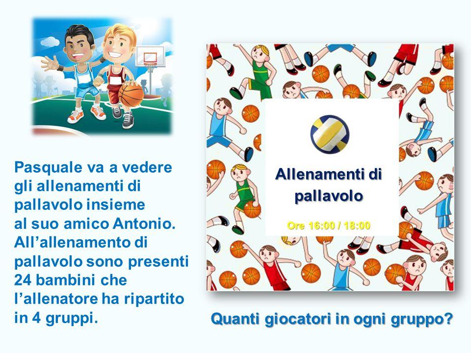 Pasquale va a vedere gli allenamenti di pallavolo insieme al suo amico Antonio. All'allenamento di pallavolo sono presenti 24 bambini che l'allenatore