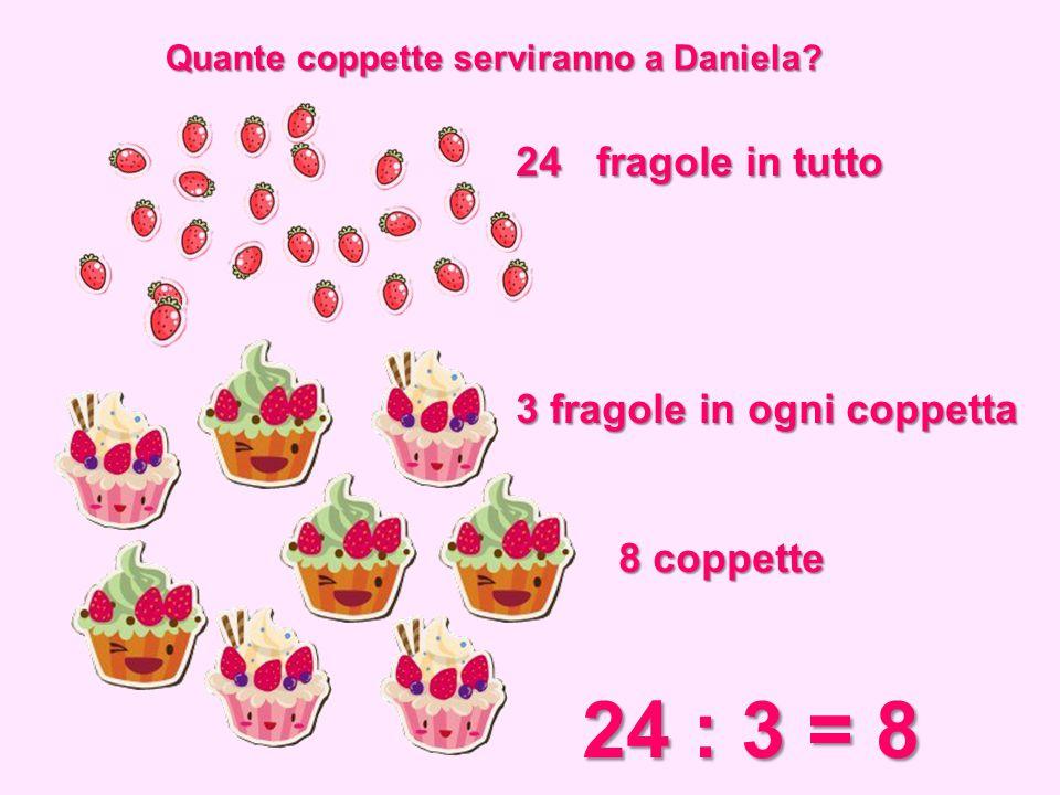 Quante coppette serviranno a Daniela? 24 fragole in tutto 3 fragole in ogni coppetta 8 coppette 8 coppette 24 : 3 = 8 24 : 3 = 8