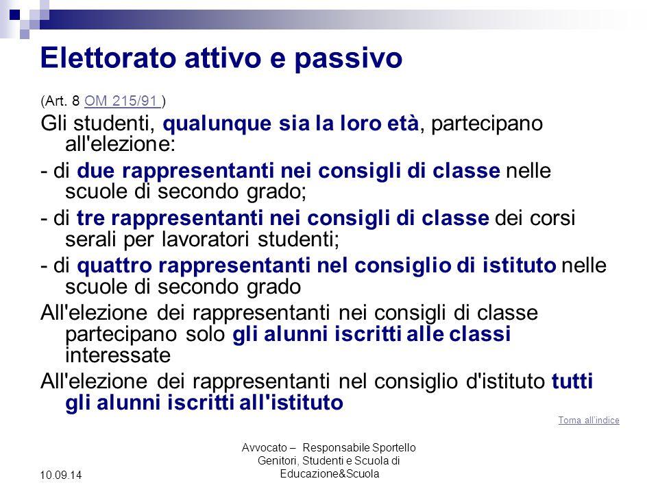 Avvocato – Responsabile Sportello Genitori, Studenti e Scuola di Educazione&Scuola 10.09.14 Elettorato attivo e passivo (Art.