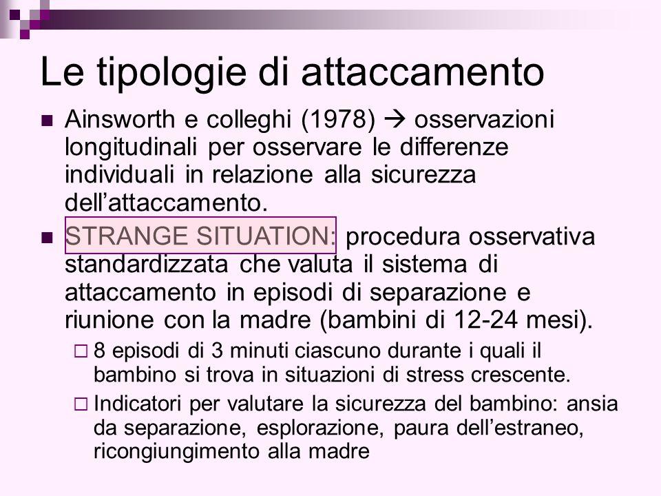 Le tipologie di attaccamento Ainsworth e colleghi (1978)  osservazioni longitudinali per osservare le differenze individuali in relazione alla sicurezza dell'attaccamento.