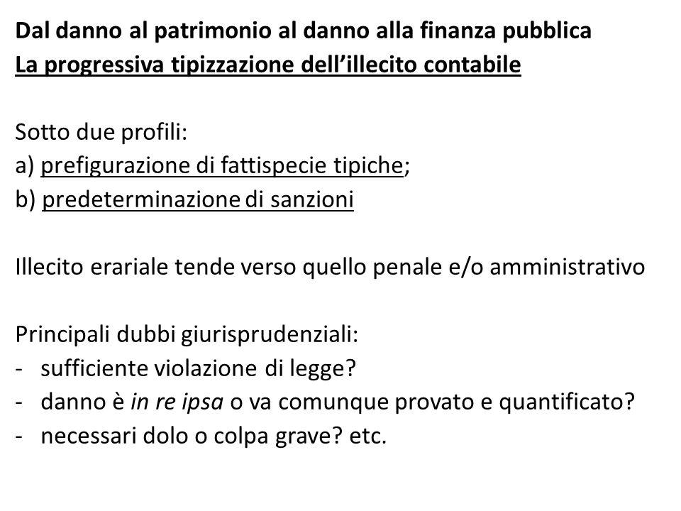 Dal danno al patrimonio al danno alla finanza pubblica La progressiva tipizzazione dell'illecito contabile Sotto due profili: a) prefigurazione di fat