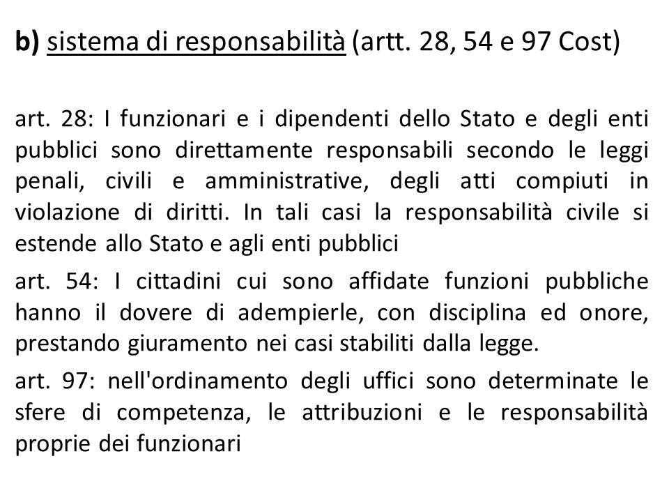 b) sistema di responsabilità (artt. 28, 54 e 97 Cost) art. 28: I funzionari e i dipendenti dello Stato e degli enti pubblici sono direttamente respons