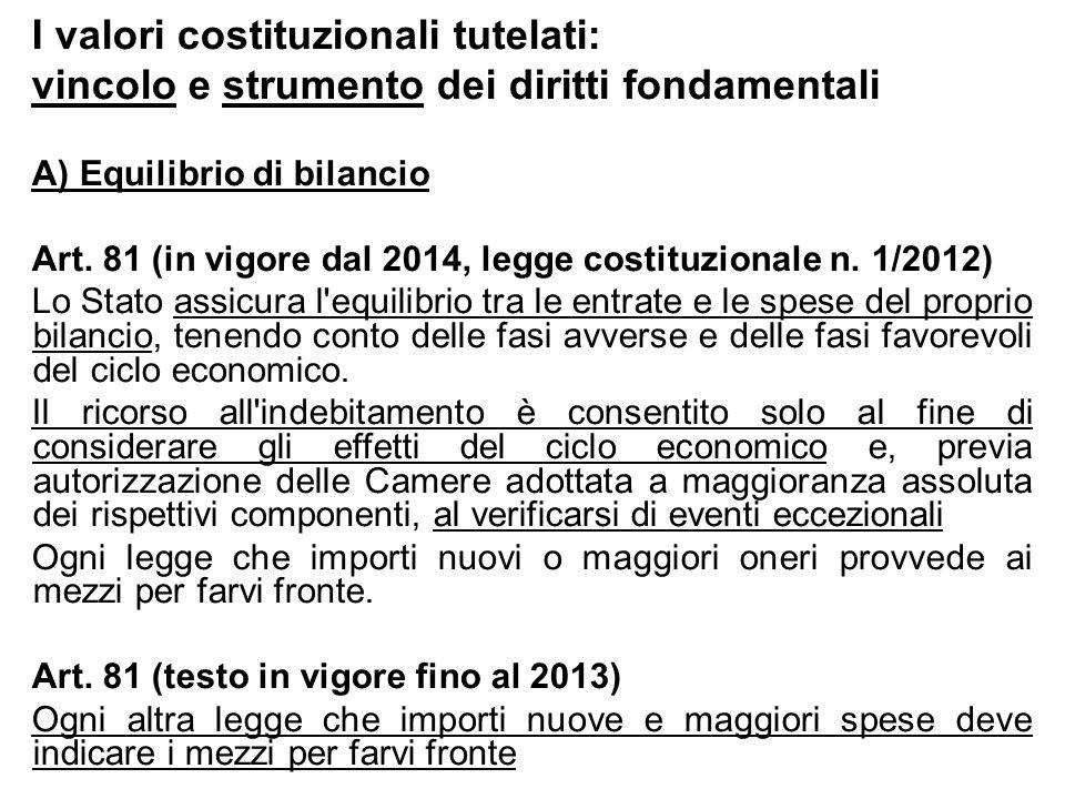 I valori costituzionali tutelati: vincolo e strumento dei diritti fondamentali A) Equilibrio di bilancio Art. 81 (in vigore dal 2014, legge costituzio