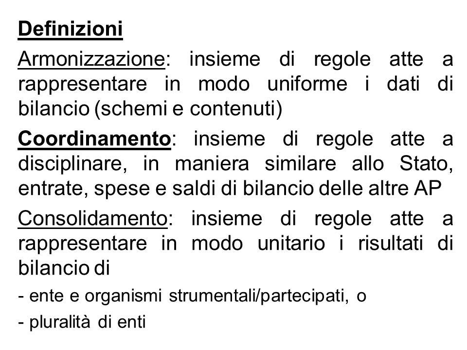 Definizioni Armonizzazione: insieme di regole atte a rappresentare in modo uniforme i dati di bilancio (schemi e contenuti) Coordinamento: insieme di