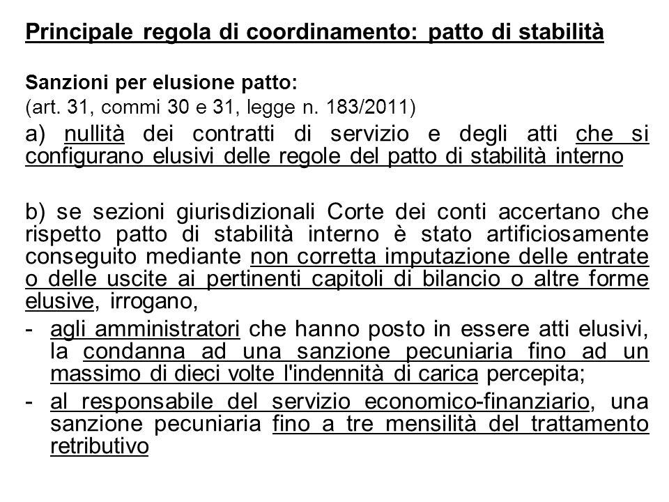 Principale regola di coordinamento: patto di stabilità Sanzioni per elusione patto: (art. 31, commi 30 e 31, legge n. 183/2011) a) nullità dei contrat