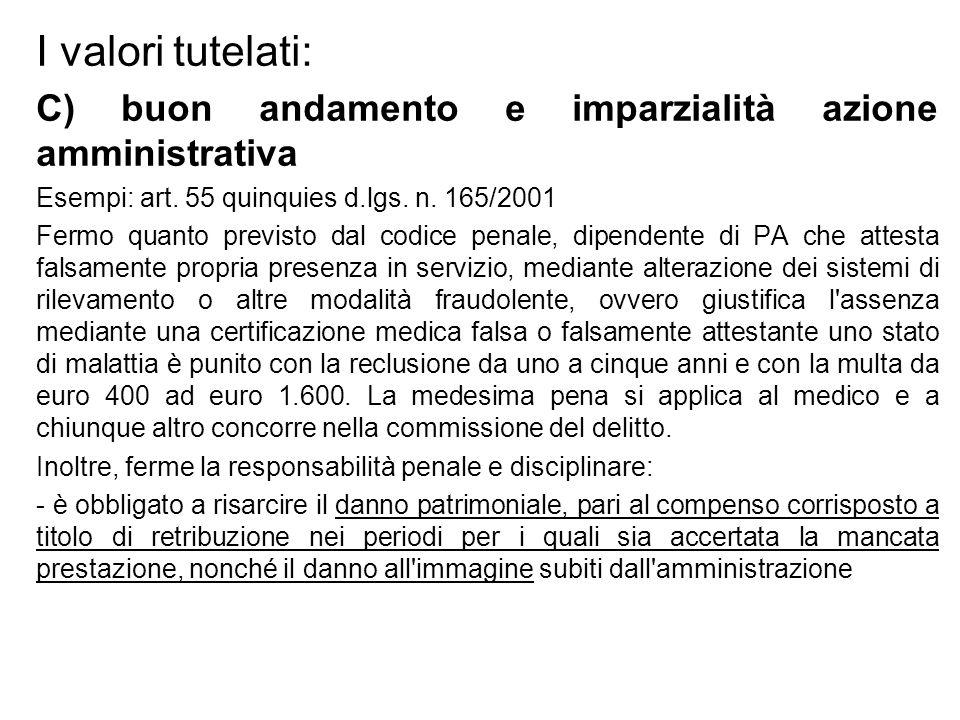 I valori tutelati: C) buon andamento e imparzialità azione amministrativa Esempi: art. 55 quinquies d.lgs. n. 165/2001 Fermo quanto previsto dal codic