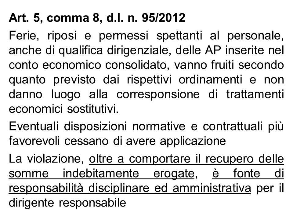 Art. 5, comma 8, d.l. n. 95/2012 Ferie, riposi e permessi spettanti al personale, anche di qualifica dirigenziale, delle AP inserite nel conto economi