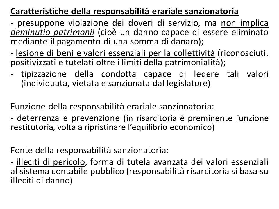 Caratteristiche della responsabilità erariale sanzionatoria - presuppone violazione dei doveri di servizio, ma non implica deminutio patrimonii (cioè