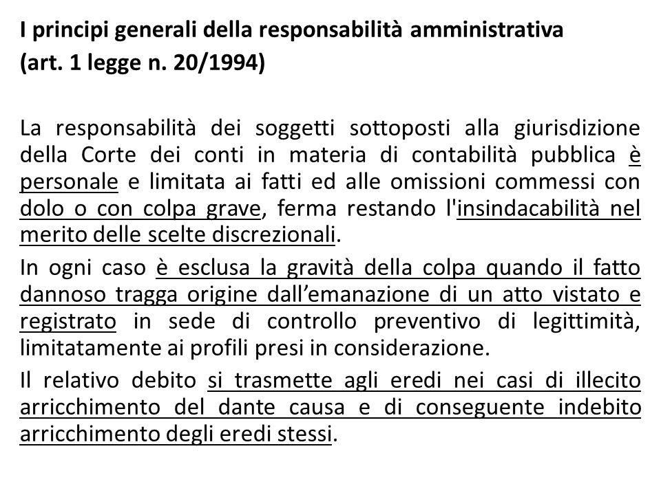 I principi generali della responsabilità amministrativa (art. 1 legge n. 20/1994) La responsabilità dei soggetti sottoposti alla giurisdizione della C