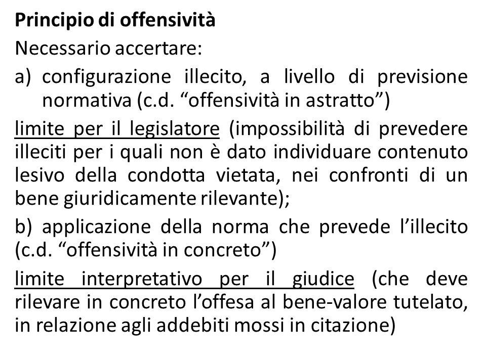 """Principio di offensività Necessario accertare: a)configurazione illecito, a livello di previsione normativa (c.d. """"offensività in astratto"""") limite pe"""
