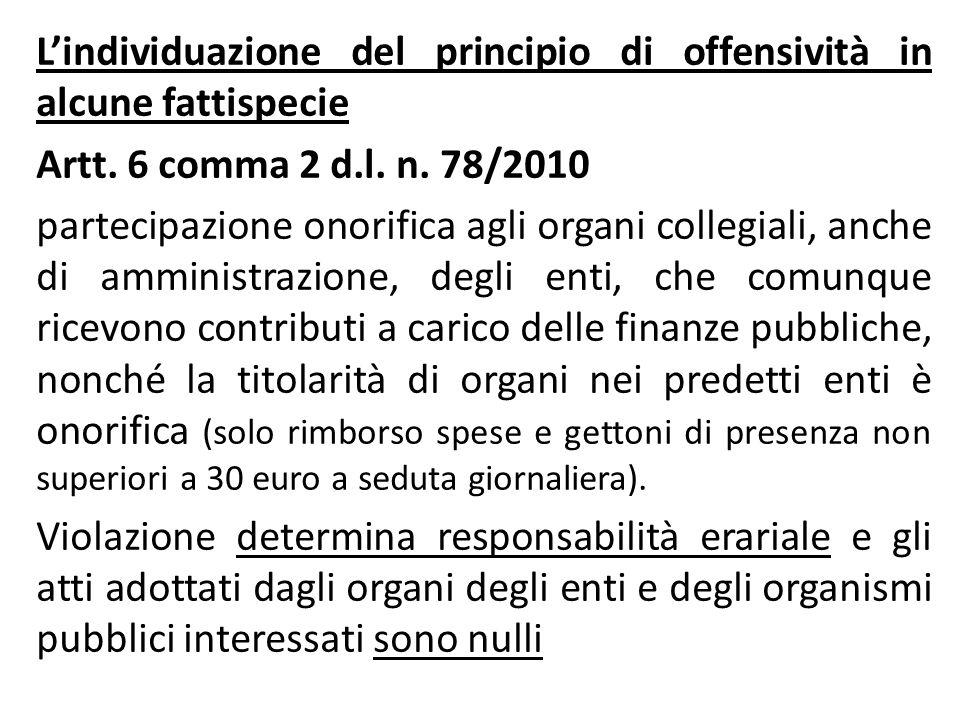 L'individuazione del principio di offensività in alcune fattispecie Artt. 6 comma 2 d.l. n. 78/2010 partecipazione onorifica agli organi collegiali, a
