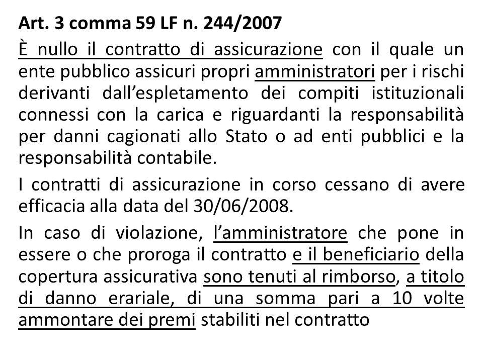Art. 3 comma 59 LF n. 244/2007 È nullo il contratto di assicurazione con il quale un ente pubblico assicuri propri amministratori per i rischi derivan