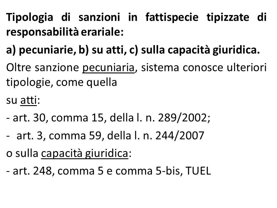 Tipologia di sanzioni in fattispecie tipizzate di responsabilità erariale: a) pecuniarie, b) su atti, c) sulla capacità giuridica. Oltre sanzione pecu