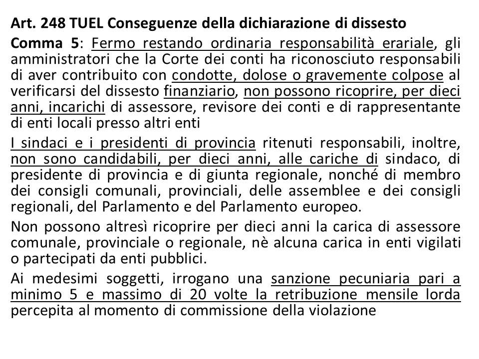 Art. 248 TUEL Conseguenze della dichiarazione di dissesto Comma 5: Fermo restando ordinaria responsabilità erariale, gli amministratori che la Corte d