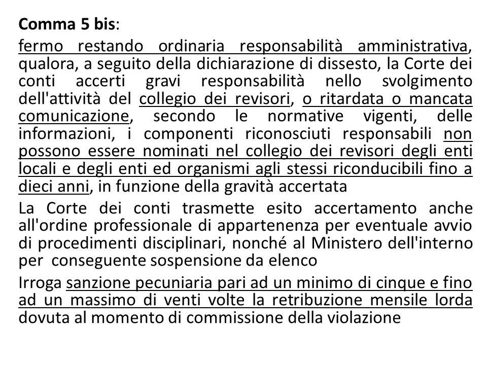 Comma 5 bis: fermo restando ordinaria responsabilità amministrativa, qualora, a seguito della dichiarazione di dissesto, la Corte dei conti accerti gr