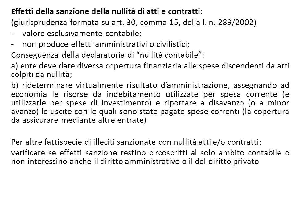 Effetti della sanzione della nullità di atti e contratti: (giurisprudenza formata su art. 30, comma 15, della l. n. 289/2002) -valore esclusivamente c