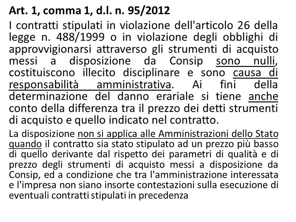 Art. 1, comma 1, d.l. n. 95/2012 I contratti stipulati in violazione dell'articolo 26 della legge n. 488/1999 o in violazione degli obblighi di approv