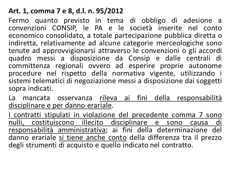 Art. 1, comma 7 e 8, d.l. n. 95/2012 Fermo quanto previsto in tema di obbligo di adesione a convenzioni CONSIP, le PA e le società inserite nel conto