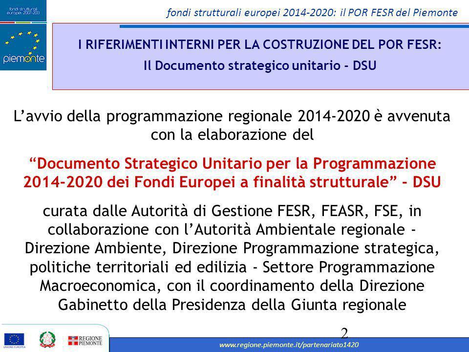 fondi strutturali europei 2014-2020: il POR FESR del Piemonte www.regione.piemonte.it/partenariato1420 3 I RIFERIMENTI INTERNI PER LA COSTRUZIONE DEL POR FESR: Il Documento strategico unitario - DSU I Il DSU ha definito le linee di intervento prioritarie che la Regione ha assunto in virtù dei nodi strutturali e delle peculiarità territoriali che la caratterizzano La La condivisione partenariale (da luglio 2013) e l'adeguamento del DSU alla luce dei suggerimenti/integrazioni pervenuti, ha portato all'approvazione dalla Giunta regionale nel novembre 2013 e nel marzo 2014 è seguita l'approvazione dal Consiglio regionale