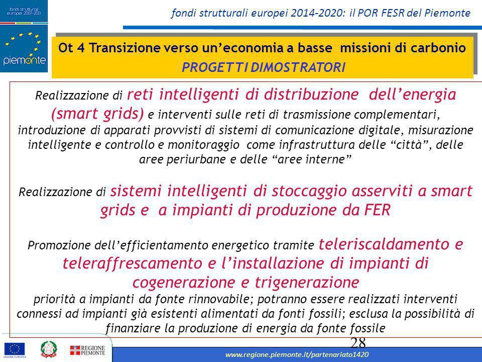 fondi strutturali europei 2014-2020: il POR FESR del Piemonte www.regione.piemonte.it/partenariato1420 29 OT 6 TUTELA DELL'AMBIENTE, VALORIZZAZIONE RISORSE CULTURALI E AMBIENTALI E SVILUPPO URBANO OT 6 TUTELA DELL'AMBIENTE, VALORIZZAZIONE RISORSE CULTURALI E AMBIENTALI E SVILUPPO URBANO Miglioramento delle condizioni e degli standard di offerta e fruizione del patrimonio nelle aree di attrazione naturale attraverso la valorizzazione sistemica e integrata di risorse e competenze territoriali Negli ambiti dello..