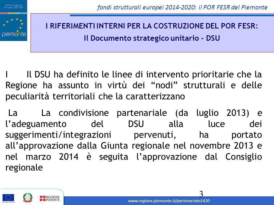 fondi strutturali europei 2014-2020: il POR FESR del Piemonte www.regione.piemonte.it/partenariato1420 4 I RIFERIMENTI INTERNI PER LA COSTRUZIONE DEL POR FESR: Il Documento strategico unitario - DSU CRESCITA SOSTENIBILE: PROMUOVERE UN'ECONOMIA PIU' EFFICIENTE SOTTO IL PROFILO DELLE RISORSE, PIU' VERDE E PIU'COMPETITIVA IL DOCUMENTO STATEGICO DI POLITICA REGIONALE RIASSUME LE LINEE DI INTERVENTO PRIORITARIE Individua le strategie per FESR, FSE E FEASR 2014 - 2020 Individua le strategie per FESR, FSE E FEASR 2014 - 2020 CRESCITA INTELLIGENTE: SVILUPPARE UN'ECONOMIA BASATA SULLA CONOSCENZA E SULL'INNOVAZIONE CRESCITA INCLUSIVA: PROMUOVERE UN'ECONOMIA CON UN ALTO TASSO DI OCCUPAZIONE CHE FAVORISCA LA COESIONE SOCIALE E TERRITORIALE