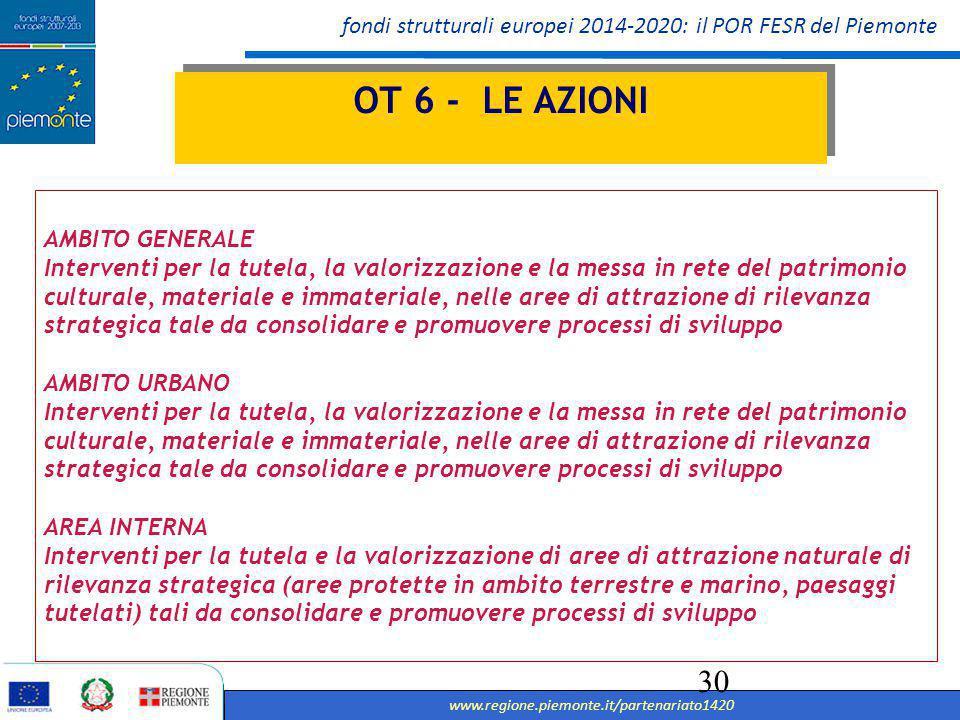 fondi strutturali europei 2014-2020: il POR FESR del Piemonte www.regione.piemonte.it/partenariato1420 31 Assistenza tecnica Strumenti di supporto a favore dell'amministrazione che attua il programma, valutazione, monitoraggio ecc.