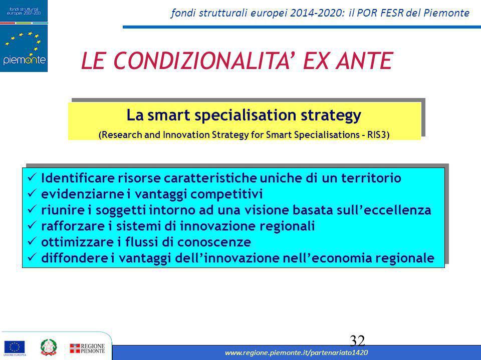 fondi strutturali europei 2014-2020: il POR FESR del Piemonte www.regione.piemonte.it/partenariato1420 33 Rendere l'innovazione una priorita' per tutte le regioni La smart specialisation strategy (Research and Innovation Strategy for Smart Specialisations - RIS3) 1 Principi Canalizzare gli investimenti e creare sinergie 2 Migliorare il processo di innovazione 3 Migliorare la governance e coinvolgere i soggetti interessati 4 5 Azioni importanti da svolgere 5 Azioni importanti da svolgere Individuazione di priorita', sfide ed esigenze di sviluppo 1 Valorizzazione dei punti di forza, i vantaggi competitivi 2 Supporto all'innovazione tecnologica e promozione investimenti privati 3 Piena partecipazione dei soggetti coinvolti e incoraggiamento all'innovazione e alla sperimentazione Piena partecipazione dei soggetti coinvolti e incoraggiamento all'innovazione e alla sperimentazione 4 Riferimento a esperienze concrete inclusive di sistemi di monitoraggio e valutazione Riferimento a esperienze concrete inclusive di sistemi di monitoraggio e valutazione 5