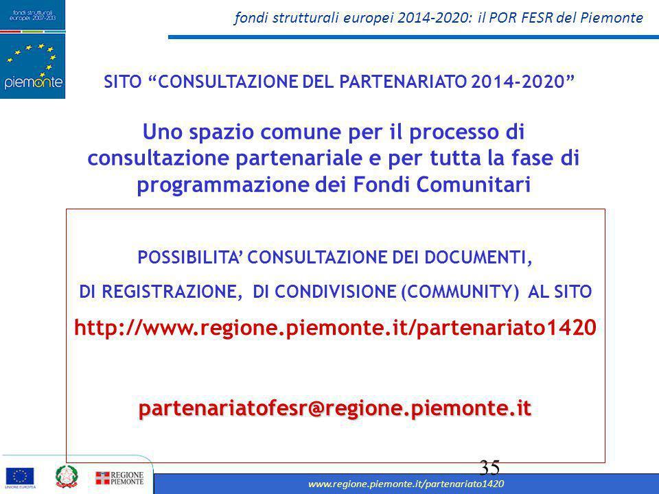 fondi strutturali europei 2014-2020: il POR FESR del Piemonte www.regione.piemonte.it/partenariato1420 36