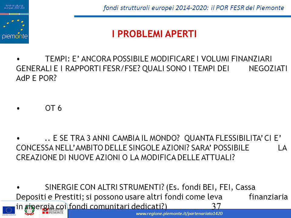 fondi strutturali europei 2014-2020: il POR FESR del Piemonte www.regione.piemonte.it/partenariato1420 37 I PROBLEMI APERTI TEMPI: E' ANCORA POSSIBILE MODIFICARE I VOLUMI FINANZIARI GENERALI E I RAPPORTI FESR/FSE.