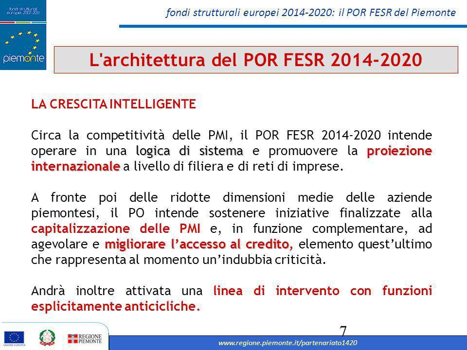fondi strutturali europei 2014-2020: il POR FESR del Piemonte www.regione.piemonte.it/partenariato1420 8 L architettura del POR FESR 2014-2020 LA CRESCITA INTELLIGENTE A sostegno del settore della R&I, il POR FESR intende rafforzare la capacità di connettere le imprese con il sistema della ricerca, nonché a stimolare la cooperazione tra aziende diverse pensare al sistema della ricerca piemontese come attrattore di talenti e produzioni sostenere l'occupazione nelle imprese di profili di alta qualificazione tecnico-scientifica sostenere la creazione di spin off della ricerca e start up innovative adozione di strumenti di qualificazione della domanda pubblica finalizzati alla promozione di nuovi mercati per l'innovazione promozione dell'innovazione sociale, ovvero nuove idee - prodotti, servizi e modelli - che soddisfino bisogni sociali e che, allo stesso tempo, creino nuove relazioni e nuove collaborazioni