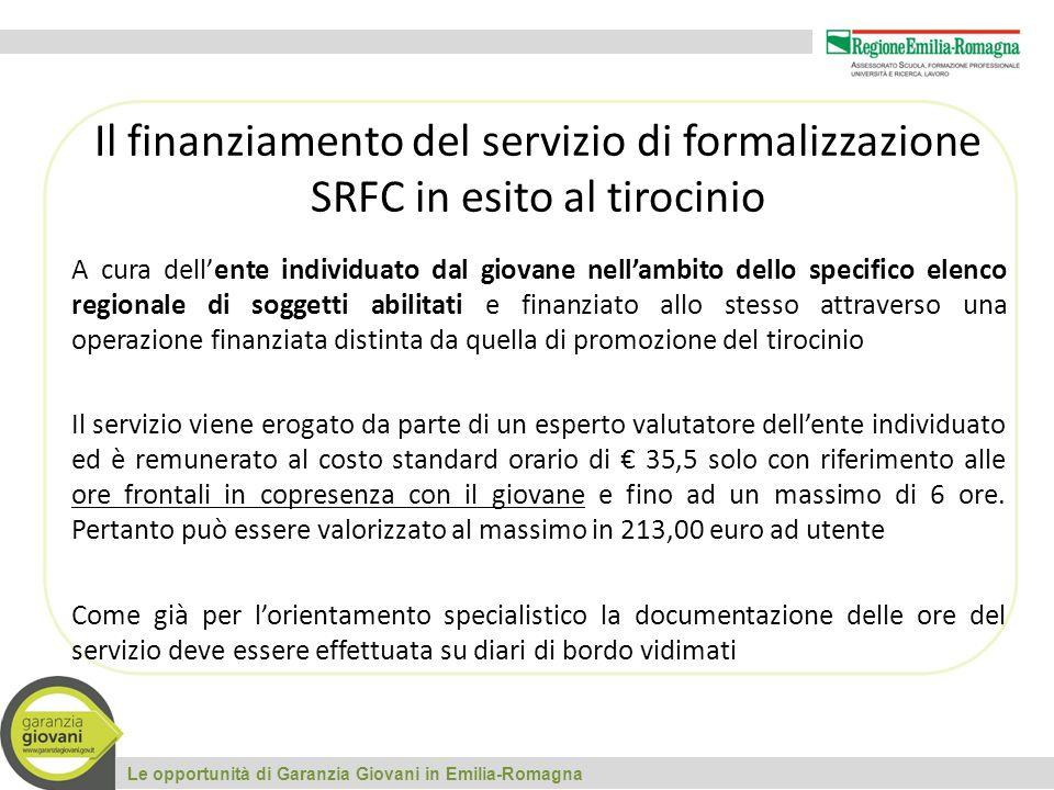 Le opportunità di Garanzia Giovani in Emilia-Romagna Il finanziamento del servizio di formalizzazione SRFC in esito al tirocinio A cura dell'ente indi