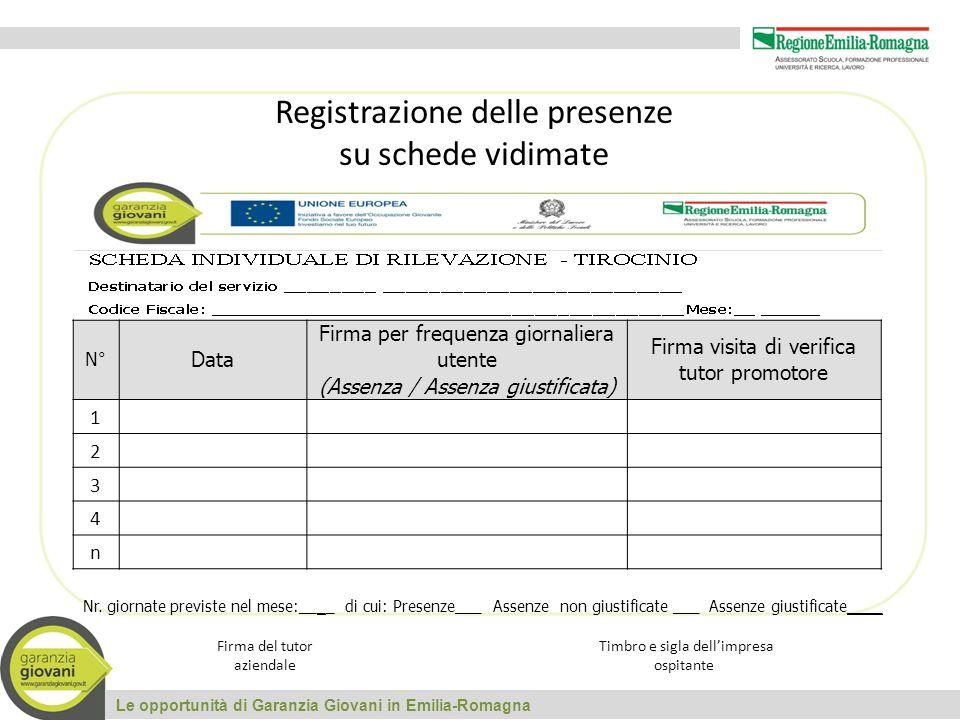 Le opportunità di Garanzia Giovani in Emilia-Romagna Registrazione delle presenze su schede vidimate N° Data Firma per frequenza giornaliera utente (Assenza / Assenza giustificata) Firma visita di verifica tutor promotore 1 2 3 4 n Nr.