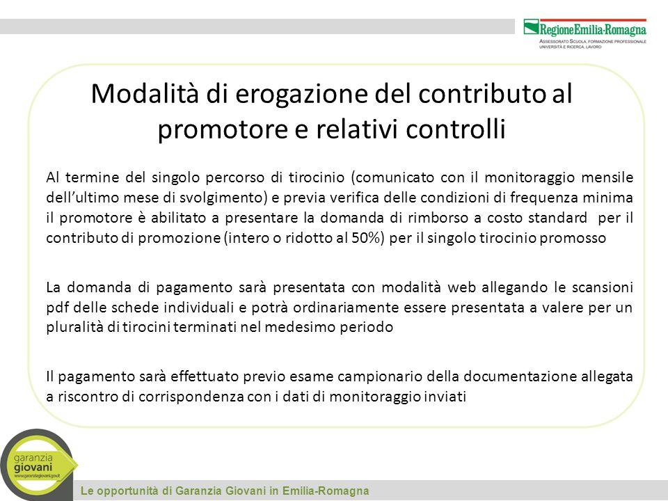 Le opportunità di Garanzia Giovani in Emilia-Romagna Modalità di erogazione del contributo al promotore e relativi controlli Al termine del singolo pe