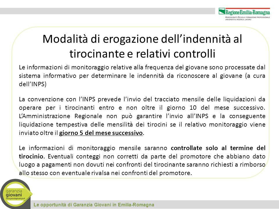 Le opportunità di Garanzia Giovani in Emilia-Romagna Modalità di erogazione dell'indennità al tirocinante e relativi controlli Le informazioni di moni