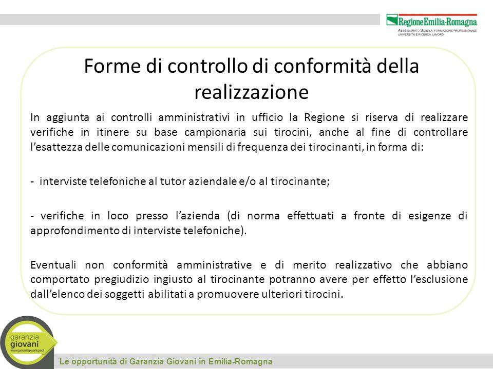 Le opportunità di Garanzia Giovani in Emilia-Romagna Forme di controllo di conformità della realizzazione In aggiunta ai controlli amministrativi in u