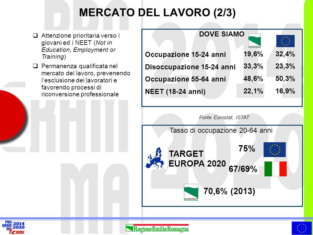 MERCATO DEL LAVORO (2/3)  Attenzione prioritaria verso i giovani ed i NEET (Not in Education, Employment or Training)  Permanenza qualificata nel me