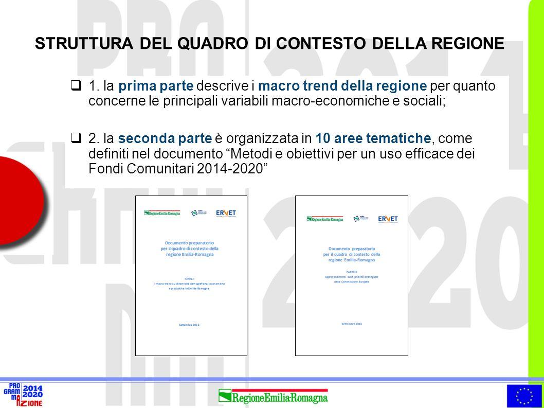 STRUTTURA DEL QUADRO DI CONTESTO DELLA REGIONE  1. la prima parte descrive i macro trend della regione per quanto concerne le principali variabili ma