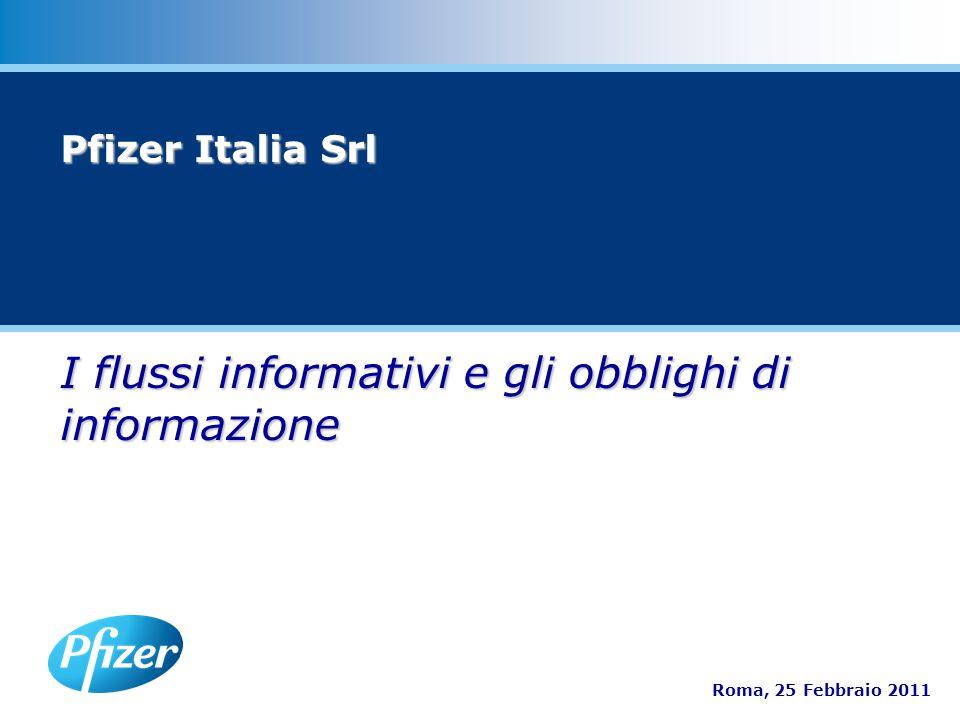 I flussi informativi e gli obblighi di informazione Roma, 25 Febbraio 2011 Pfizer Italia Srl
