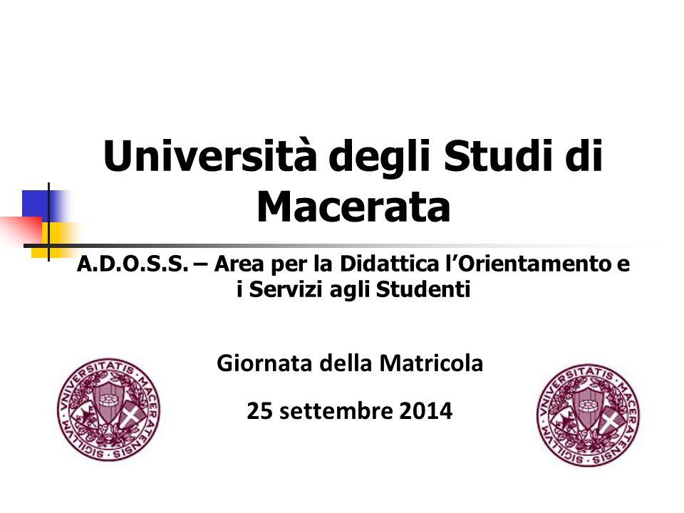Università degli Studi di Macerata A.D.O.S.S. – Area per la Didattica l'Orientamento e i Servizi agli Studenti Giornata della Matricola 25 settembre 2