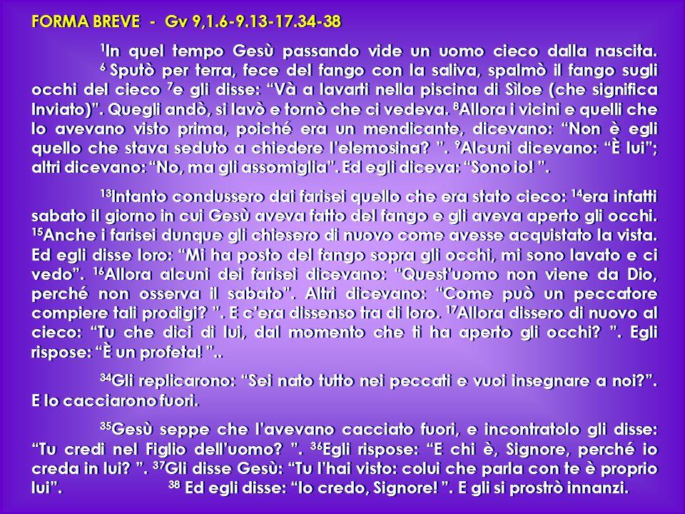 FORMA BREVE - Gv 9,1.6-9.13-17.34-38 1 In quel tempo Gesù passando vide un uomo cieco dalla nascita.
