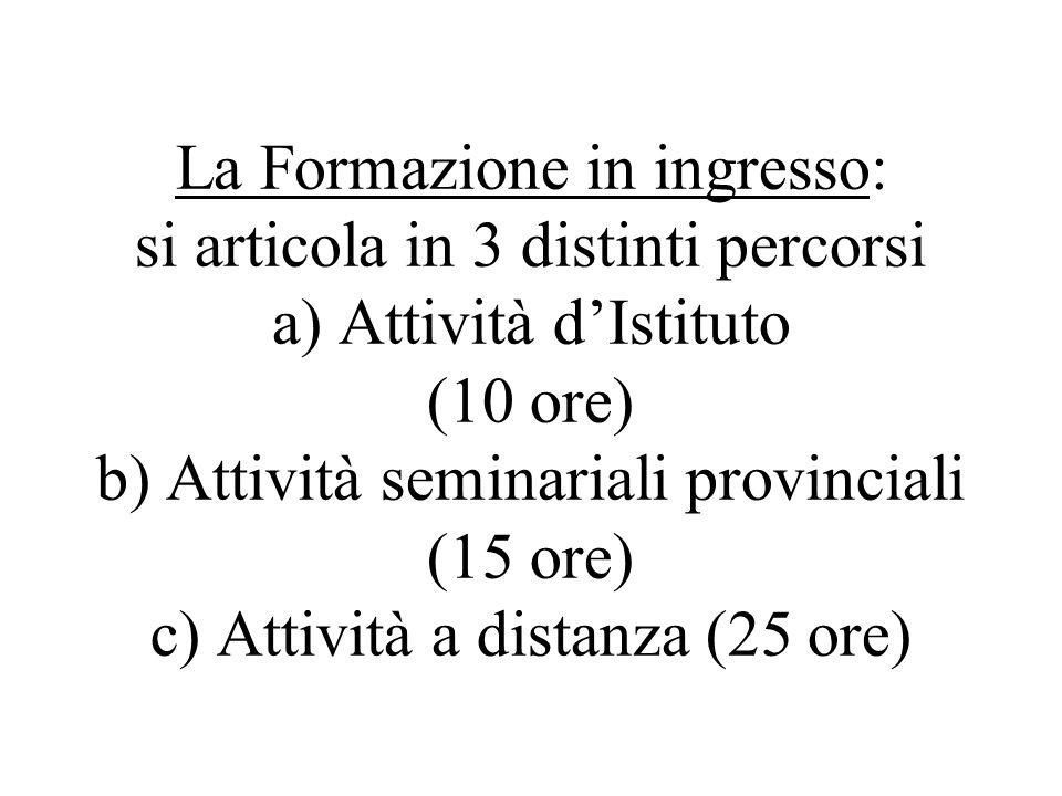 La Formazione in ingresso: si articola in 3 distinti percorsi a) Attività d'Istituto (10 ore) b) Attività seminariali provinciali (15 ore) c) Attività a distanza (25 ore)